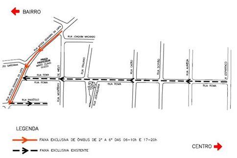 Faixa exclusiva para ônibus Rua Nossa Senhora da Lapa