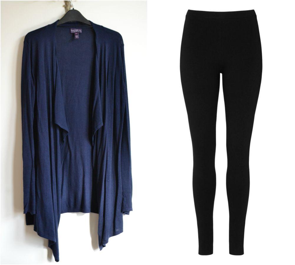 long tall sally navy cardigan black leggings