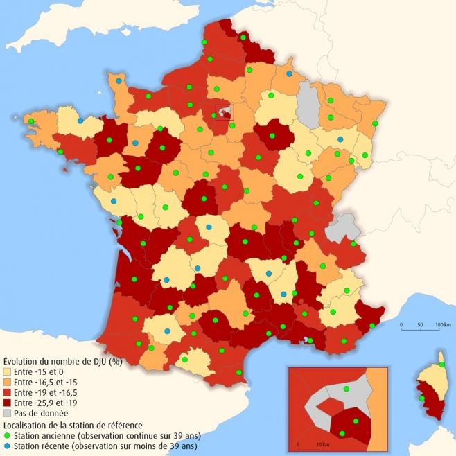 Evolution tendancielle des DJU entre 1970 et 2008 par stations départementales
