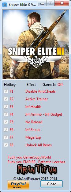 Sniper Elite 3 V1.09 Trainer +6 MrAntiFun