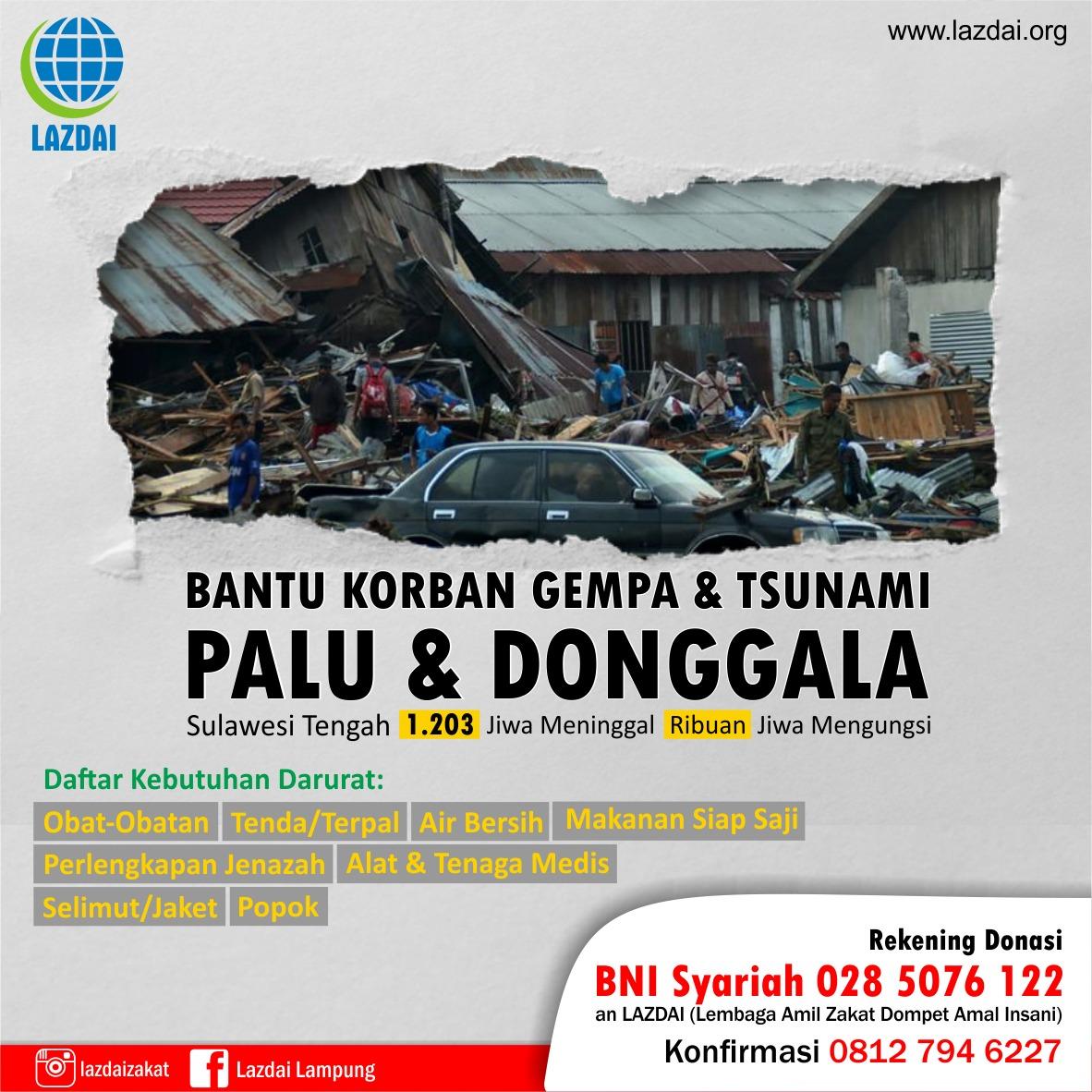 Bantu Korban Gempa Palu dan Donggala