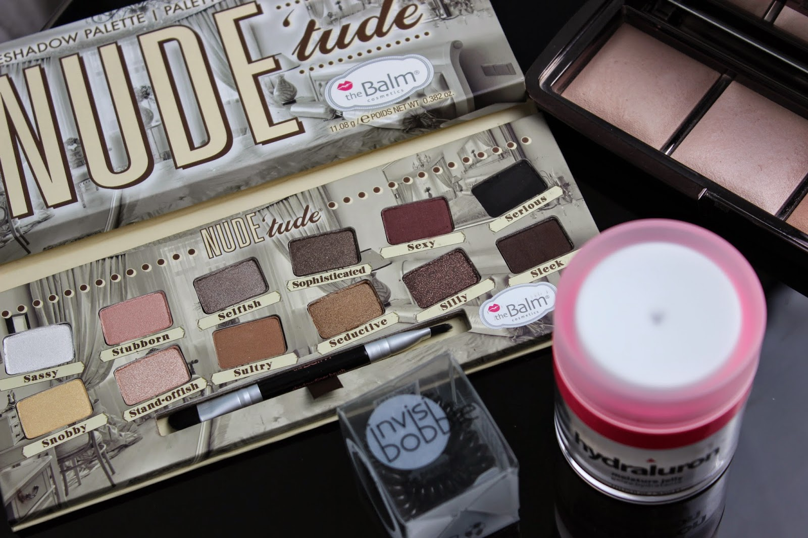 theBalm Nude Tude, Hourglass Ambient Lighting palette, Indeed Labs Hydraluron Moisture Jelly, Invisibobble
