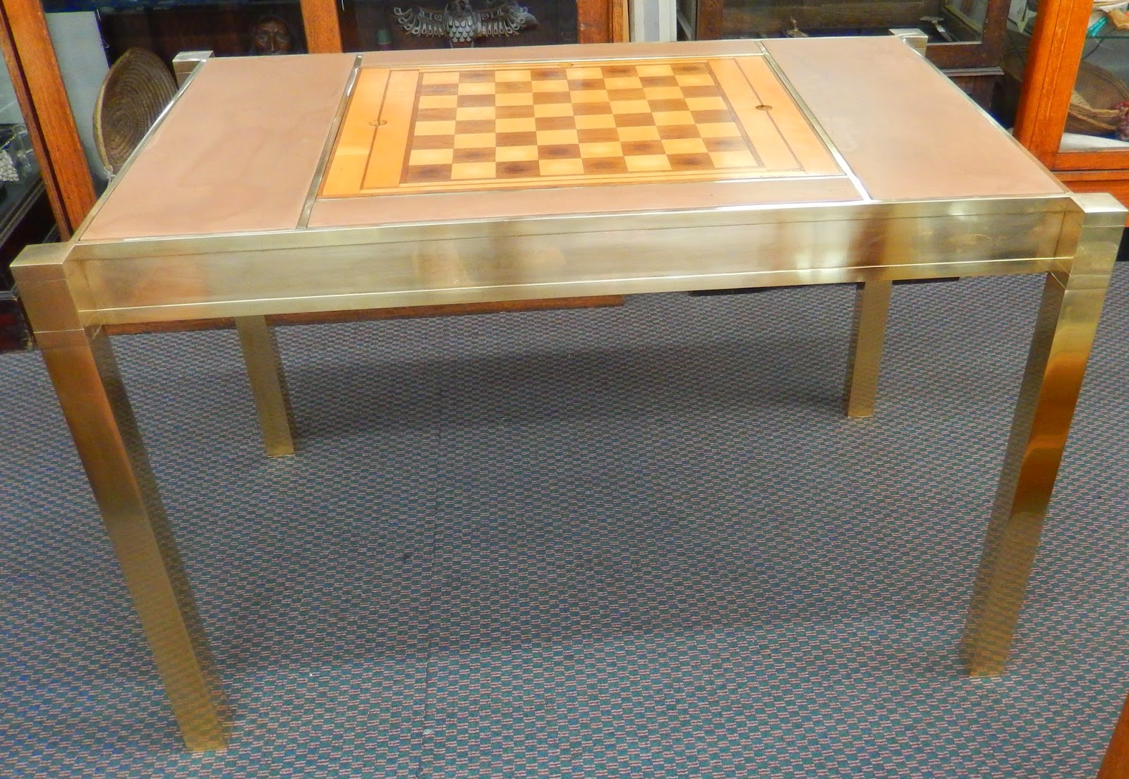 Vintage Modern Brass Game Table With Checker/Chess Board And Inset  Backgammon Board... SOLD!!!