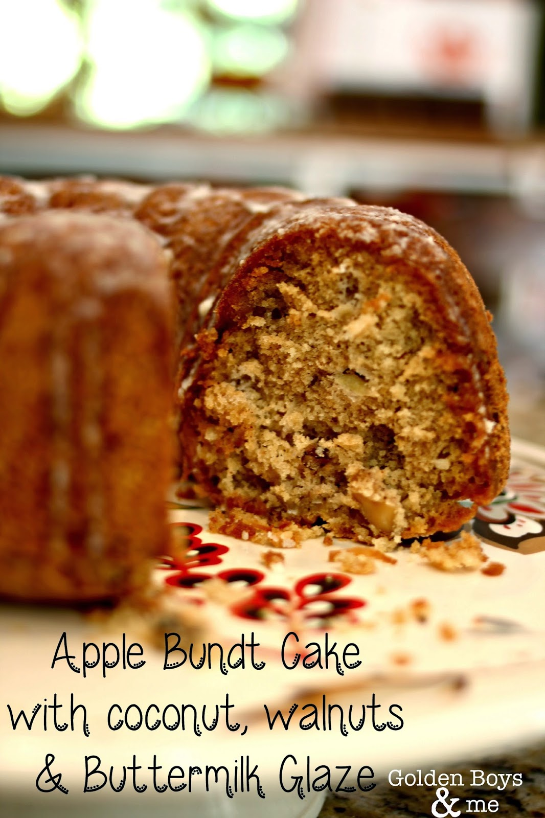 Apple Bundt Cake Recipe with coconut, walnuts and buttermilk glaze