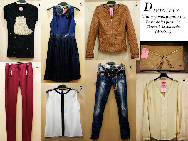 Collage con distintas prendas de la tienda Divinitty, camiseta, leggins, vestido, vaqueros, bolso y cazadora.
