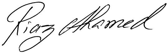 autograph of riaz