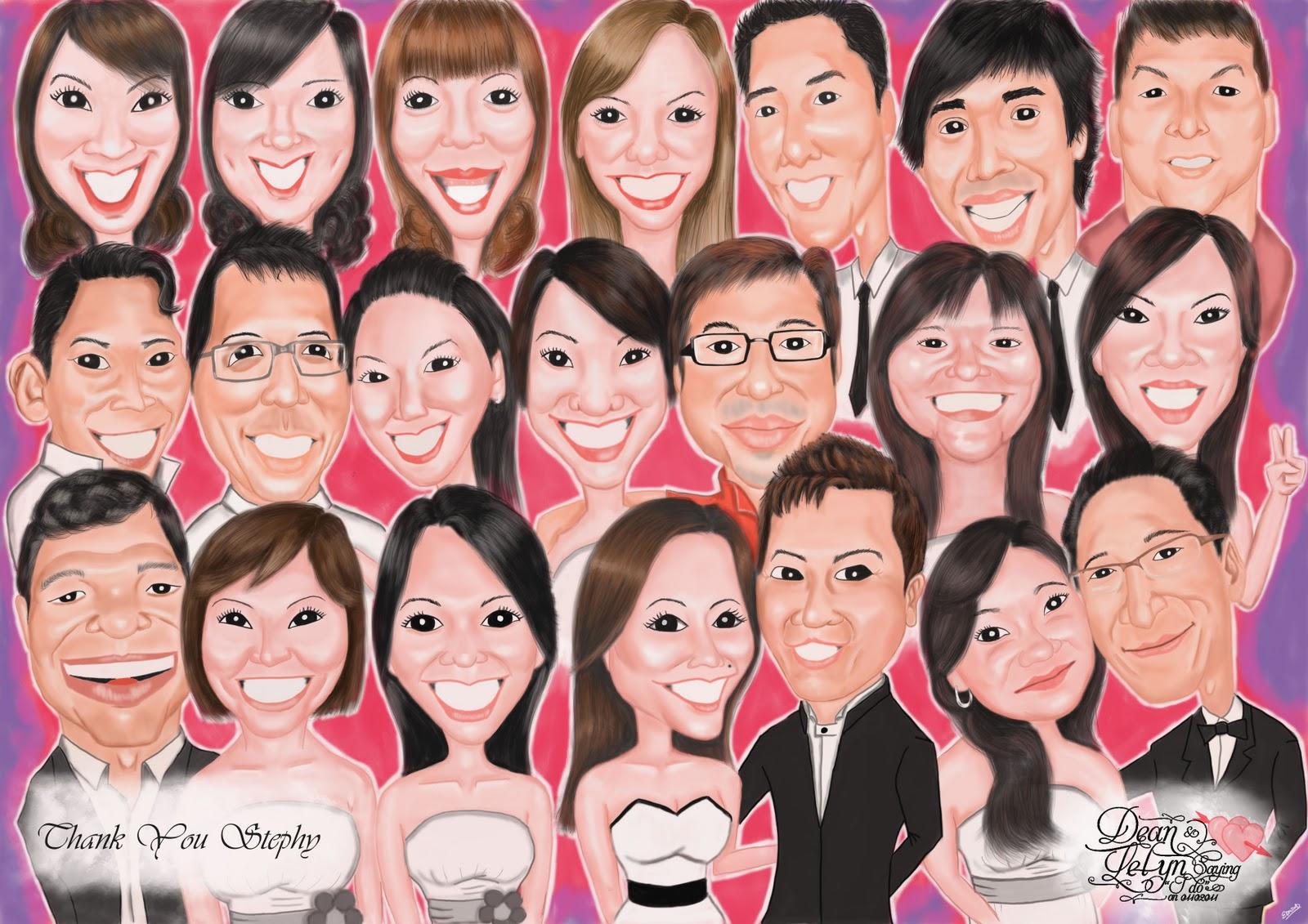 Edmonds Art A Group Caricature Gift For Lelyns Wedding Helpers 1