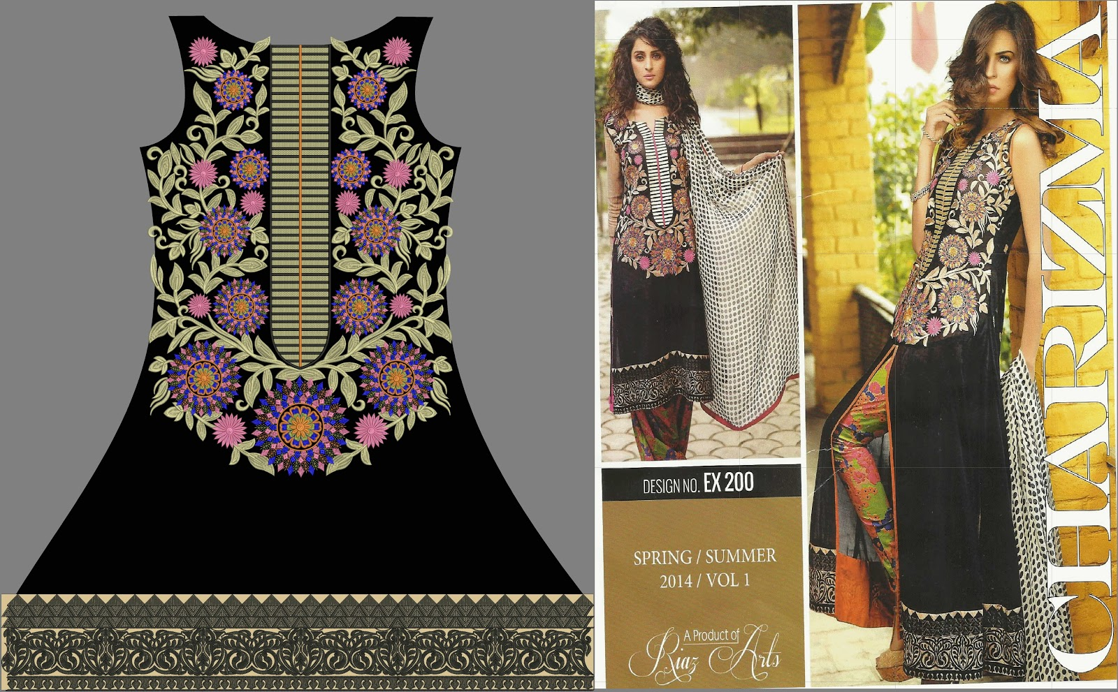 Classical Neck Embroidery Designs For Ladies Suits 2015