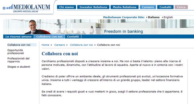 Lavora con noi Banca Mediolanum