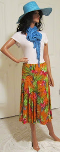 Tropical Paradise Flirt inAbstract Orange Floral Print