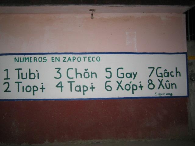 Numeros en Zapoteco