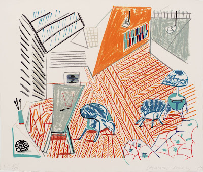 David Hockney - Pembroke Studio with Blue Chairs and Lamp 1984