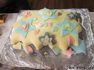 finished fondant cake, colors, shapes, hearts, stars, kit, box