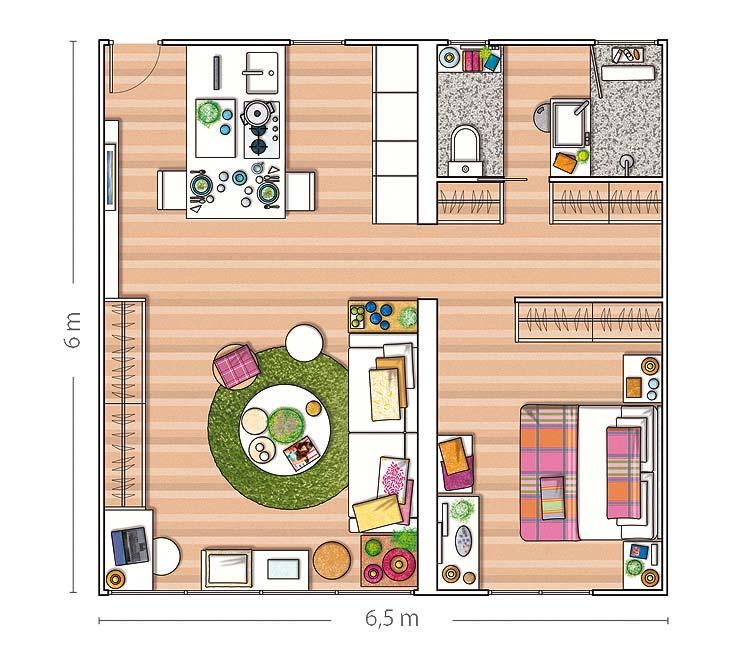 C mo distribuir un piso de 40 m2 tr s studio blog de for Distribucion de apartamentos de 40 metros