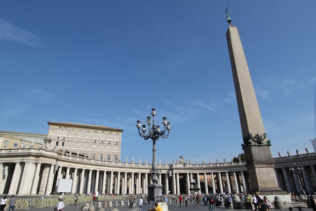The obelisk and Apostolic Palace at St Peter's Square in Vatican City, Rome, Italy