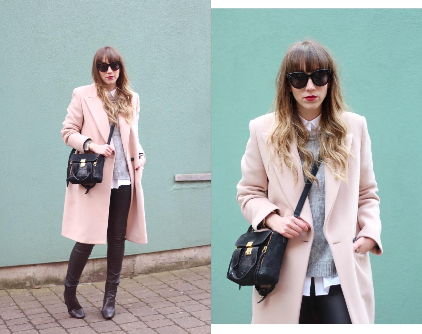 cedric charlier pink coat topshop magnum boots celine audrey sunglasses phillip lim pashli mini black