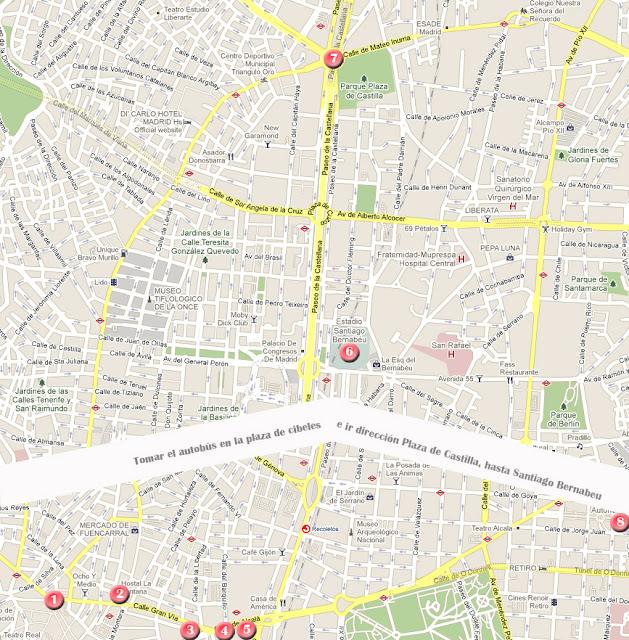 Mapa de la ruta por Madrid, día 3