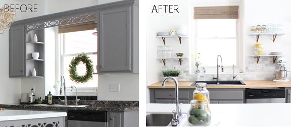 The Final Kitchen Update Included Removing Some Upper Cabinets Replacing The Outer Laminate Countertops And Adding A Beveled Marble Backsplash