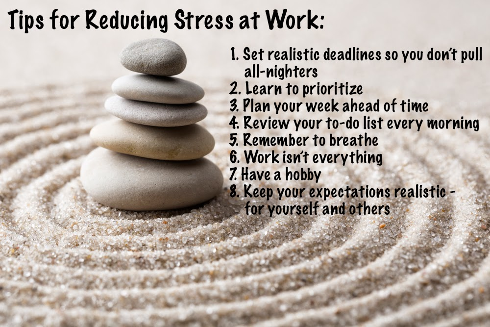 list of tips for reducing stress at work