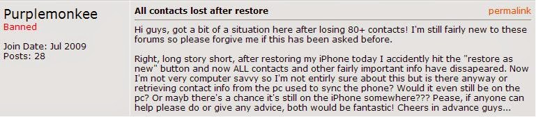 lost iphone data after factory restore