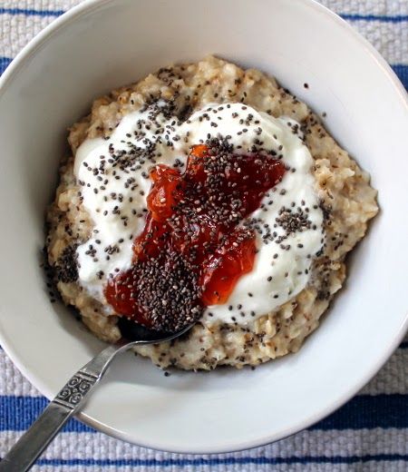 Oatmeal with flax, yogurt, jam, and chia seed