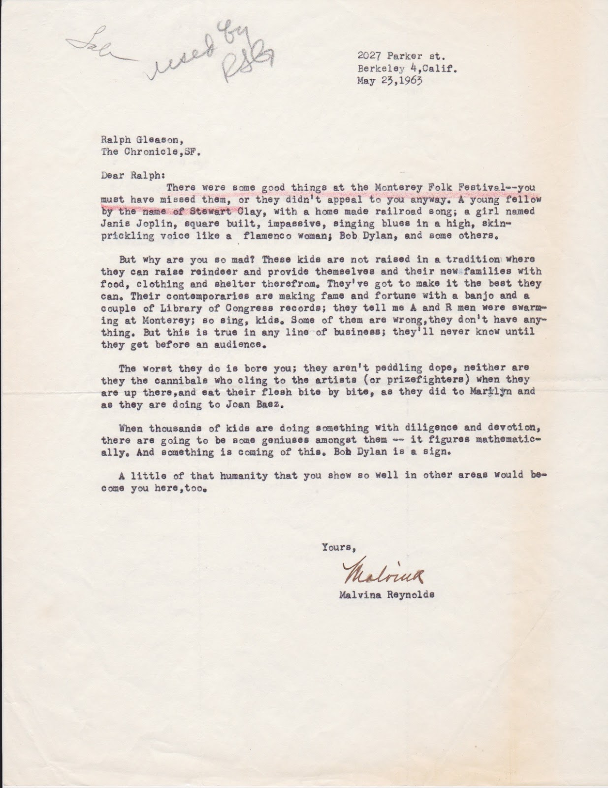 some interesting letters and more bob dylan