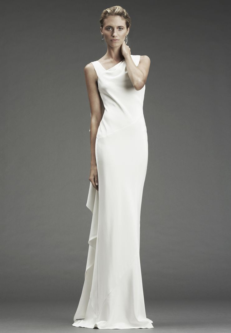 Satin simple wedding dresses with attractive back designs for Satin silk wedding dresses