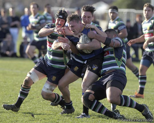 With ball: Sam Lamborn, Havelock North -  rugby vs Hastings Rugby and Sports, Maddison Trophy semi-final, at Anderson Park, Havelock North. Havelock North won 22-17. photograph