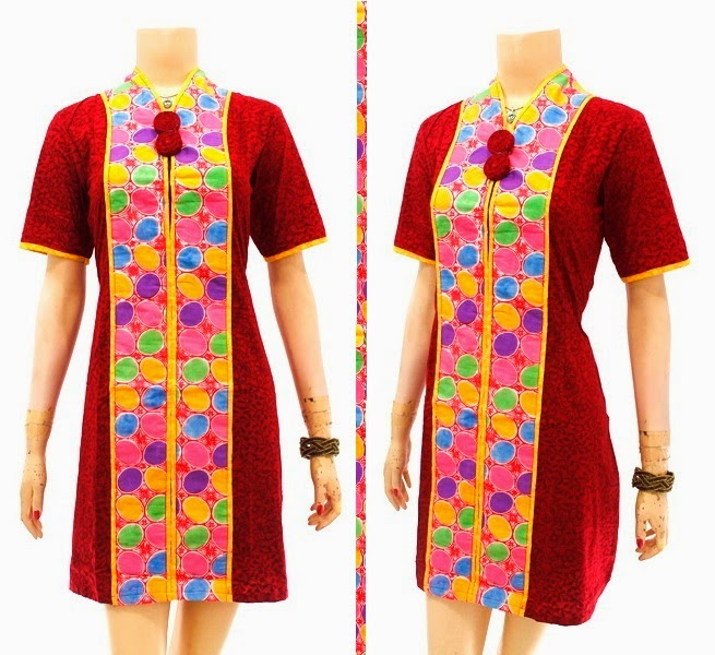 DB3744 Model Baju Dress Batik Modern Terbaru 2014