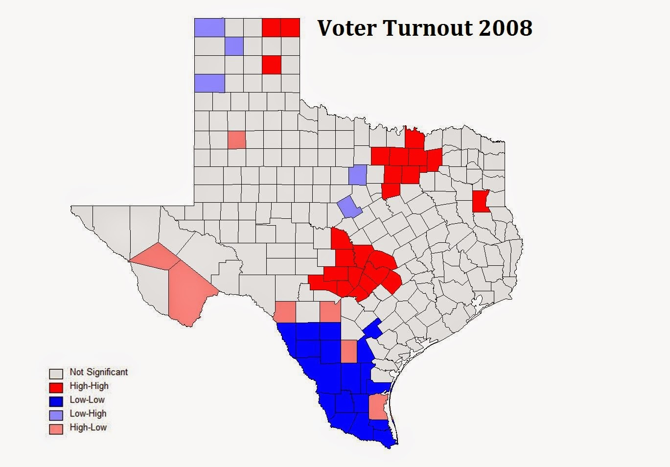 in 2008 southern texas maintained significant area of low voter turnout just as it did in 1980