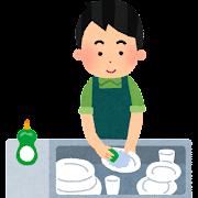 皿洗いをする男性のイラスト