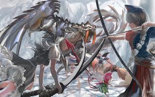 Monster Sword Arrow Bow Girl Fighting Anime HD Wallpaper Desktop PC Background 1952