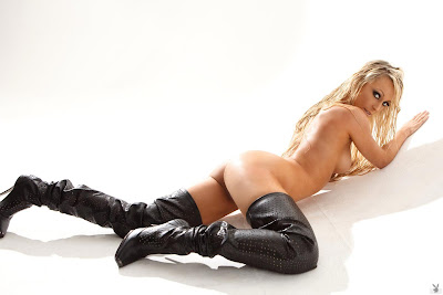 Brittany Barbour In Thigh High Leather Boots