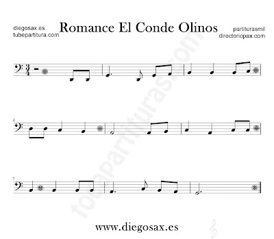 Romance el Conde Olinos partitura para Trombón, Tuba, Violonchelo, Fagot, Bombardino... en clave de Fa