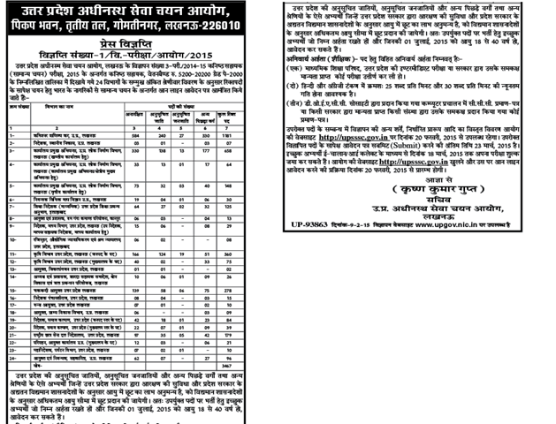 UPSSSB JUNIOR ASSISTANT 2015 VACANCIES DETAILS
