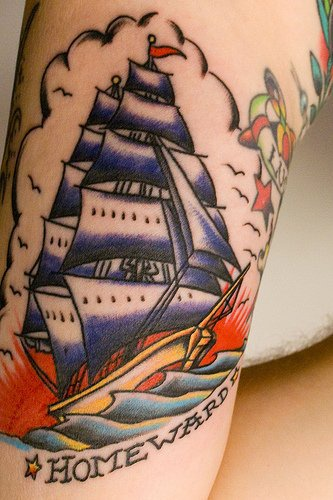 Ship homewarde arm sleeve tattoo