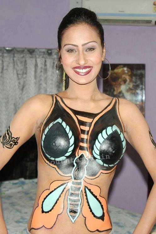 Indian actress body paint