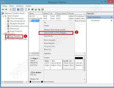 Windows 8.1 Sürücü Harfini Değiştirme