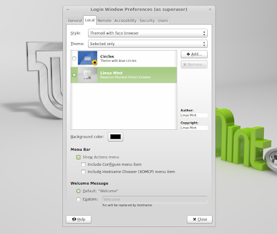 linux mint 13 login screen preferences