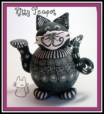 black and white kitty cat. Black amp; White Kitty-Cat Teapot
