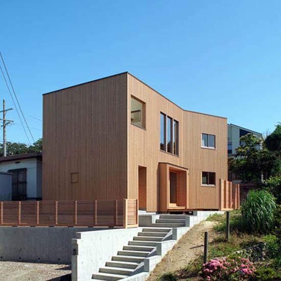 Modern wooden japanese home design for Modern wooden house design