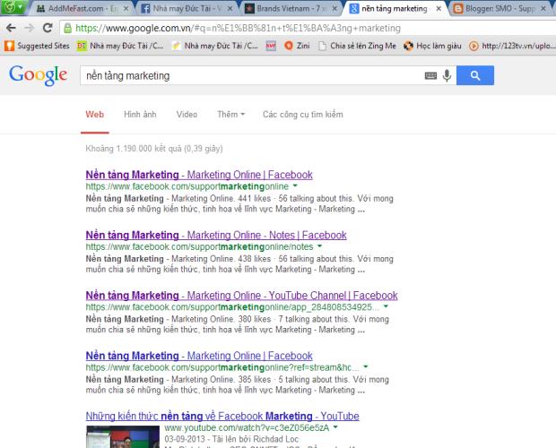 "SMO - Search ""Nền tảng marketing"" cho ra kết quả trang facebook"