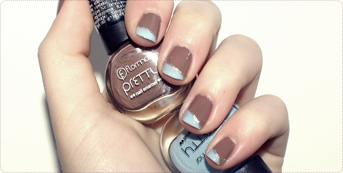 Two Color Nail Design Tutorial Flormar Brown And Blue Preview