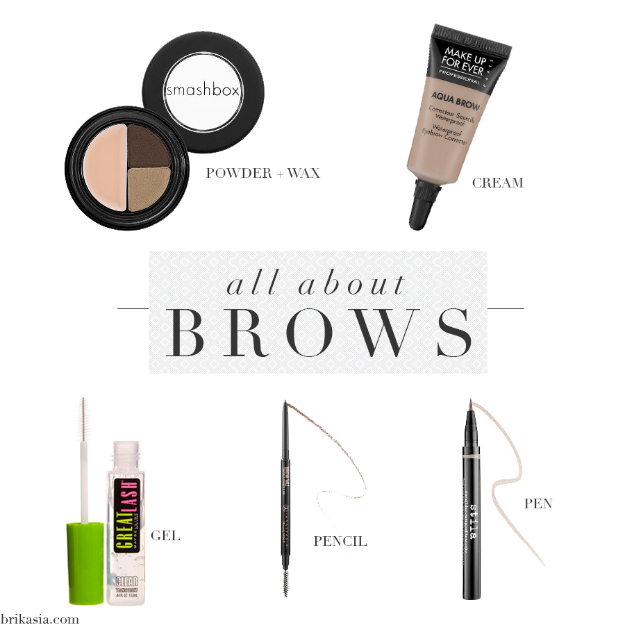 eyebrow formulas, different eyebrow products, brow powder, waterproof eyebrow cream, brow pomade, brow gel, brow pencil, eyebrown pen,