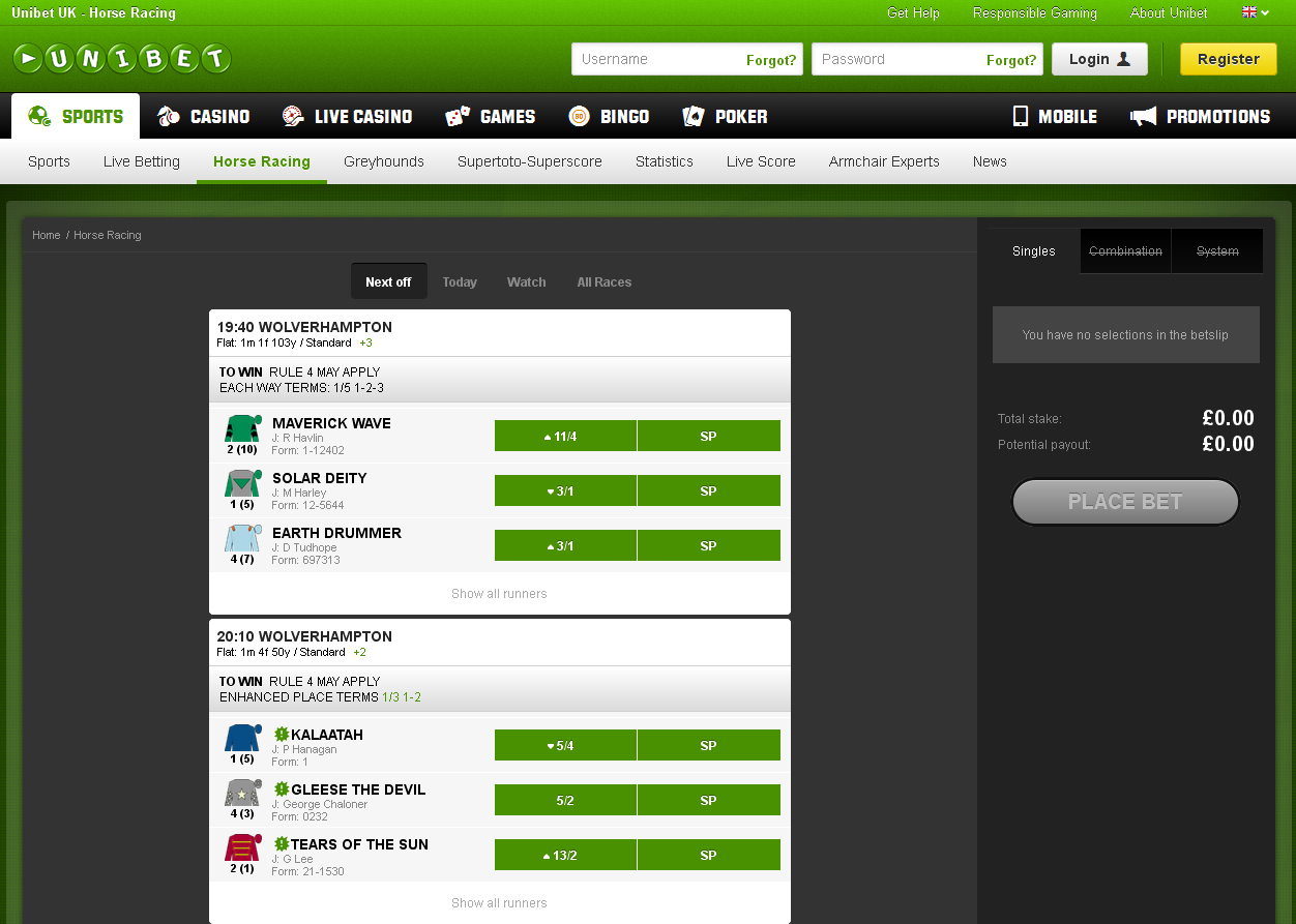 Unibet Horse Racing Screen