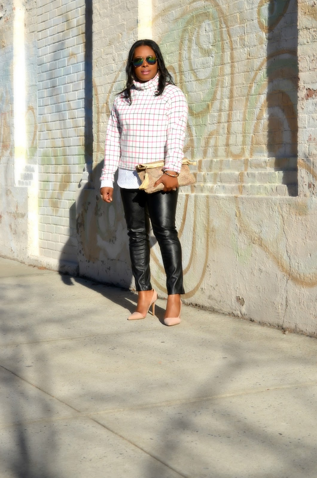Blank NYC Vegan Leather Skinny Jeans.Button-down.Shirt.HighNeck.MicroFleece.Top.Snakeskin.Bebe Snakeskin.Clutch.Adelia.D'orsay Nude Pumps