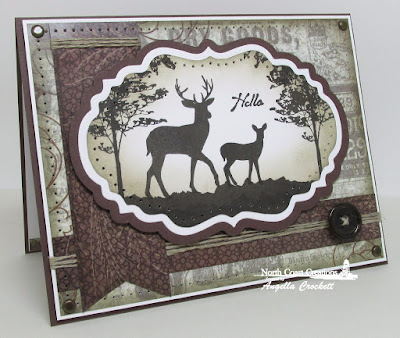 NCC Deer Silhouette Greetings, ODBD Custom Vintage Labels Dies, ODBD Vintage Ephemera Paper collection, Card Designer Angie Crockett