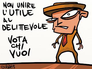 bersani voto utile berlusconi pd destra sinistra monti dilettevole bicchiere unire gava satira 2013