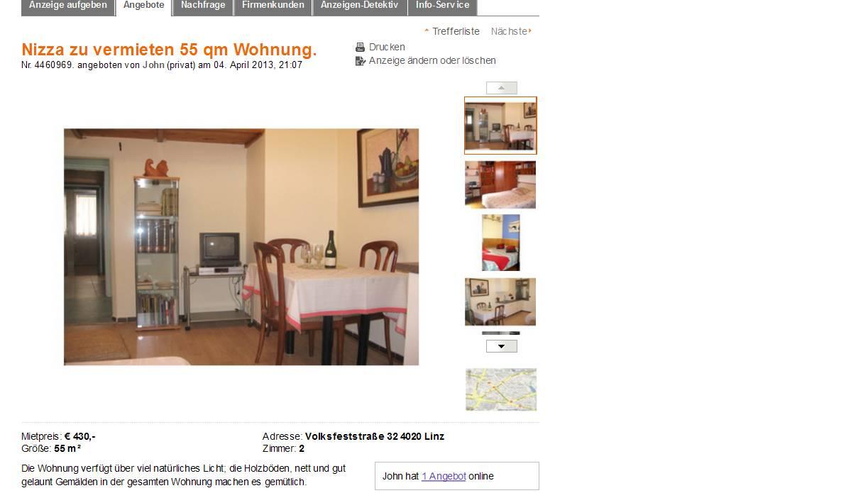 Nizza zu vermieten 55 qm wohnung volksfeststra e 32 4020 for 55 qm wohnzimmer