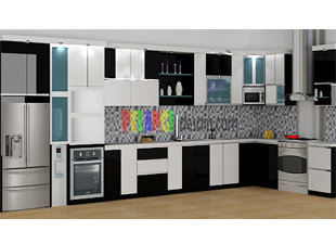 Kitchenset pelangi desain interior kitchen set hitam putih for Kitchen set hitam